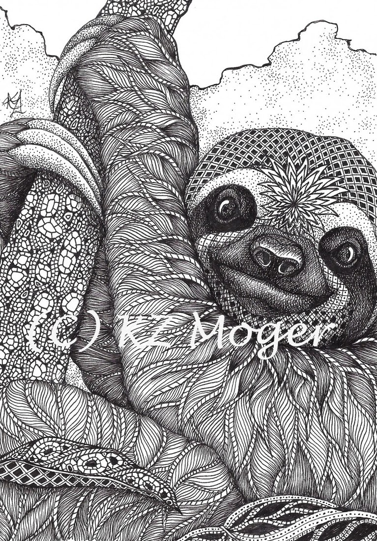 03-Sloth-Kristin-Moger-Animal-Portraits-Dressed-with-Zentangle-Textures-www-designstack-co