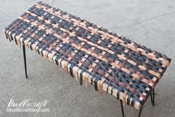 My adult son and I worked on this bench together and had a great time! It all started with a neighbor brining over a bag of leather strips. He thought my son might be able to make a stock whip out of them. He's the World Champion Whip Cracker!  But they are too thick and short and would take an unneeded amount of prep work...so a new plan was formulated!