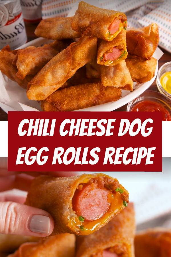 Easy Chili Cheese Dog Egg Rolls Recipe | You've never seen a chili cheese dog like this before from this site. #easymeals #eggrolls #easyrecipes #cheese