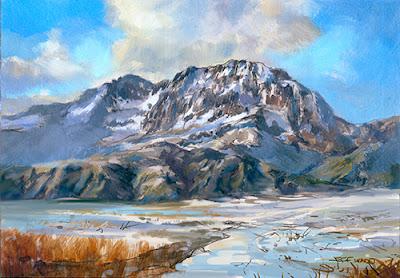 Snowy Mountain Landscape Oil Painting by Jeff Ward