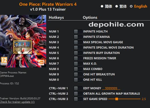 One Piece Pirate Warriors 4 Para, Can +13 Trainer Hilesi İndir