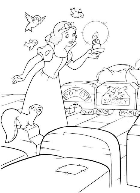 caricatura para colorear blanca Nieves con camas