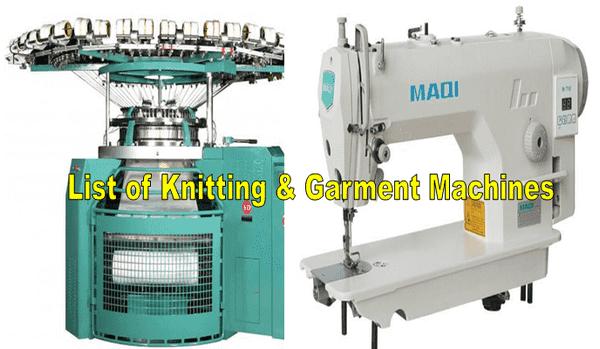 Knitting and garment machines
