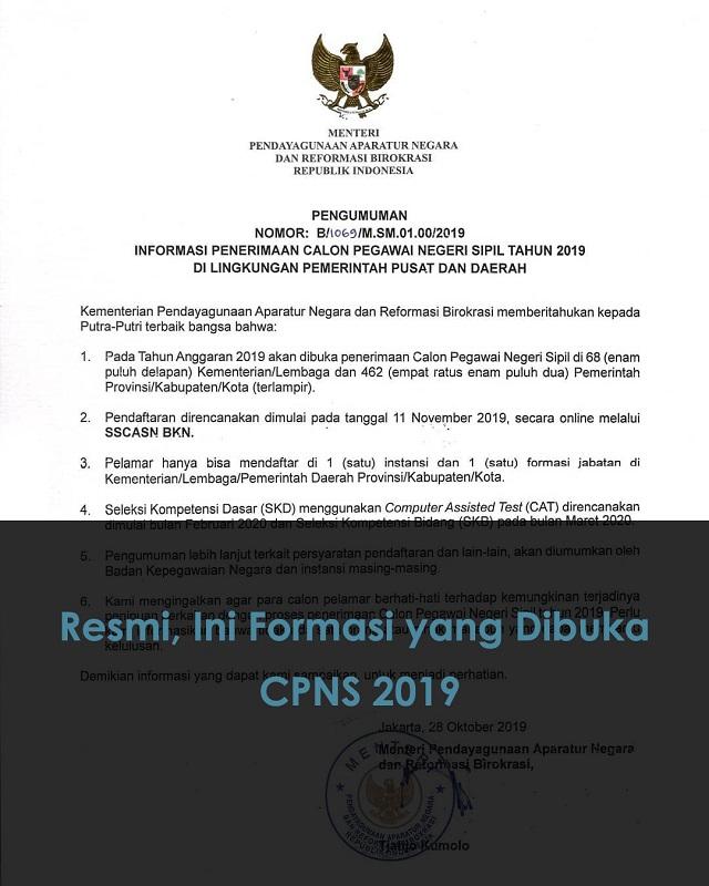 Pendaftaran CPNS 2019 Resmi Dibuka 11 November