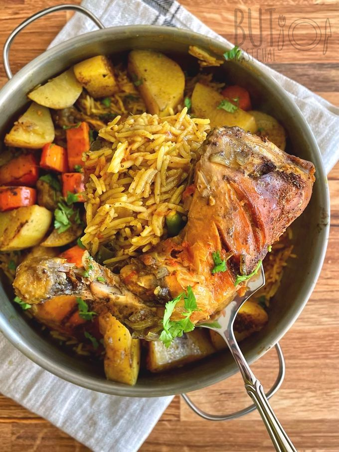 A pot of Chicken Machboos with Baharat & Sella Basmati Rice