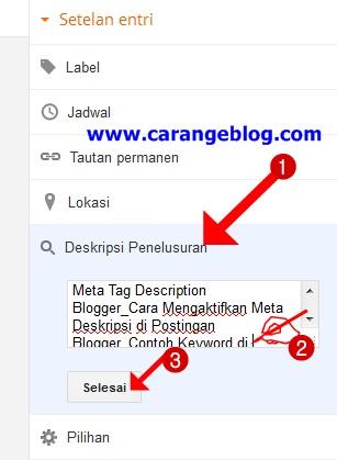Contoh Deskripsi Penelusuran di halaman postingan blog