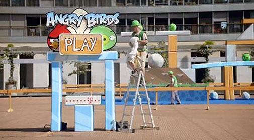 angry birds, evento, rua, pessoa, jogar