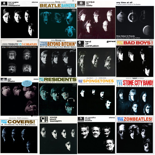 Sixteen parodies of the Beatles album cover  'With the Beatles'