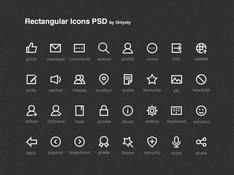 Rectangular Icons PSD