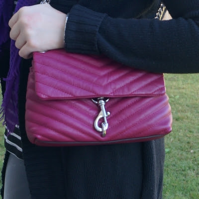 black cardigan with Rebecca Minkoff Edie small crossbody bag in magenta  | away from the blue