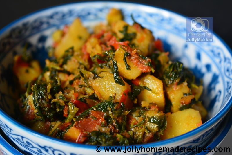 Indian stir fry with Fenugreek Leaves, Potato and Tomato