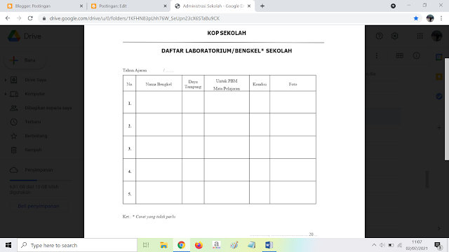 Contoh Daftar Laboratorium atau Bengkel Sekolah