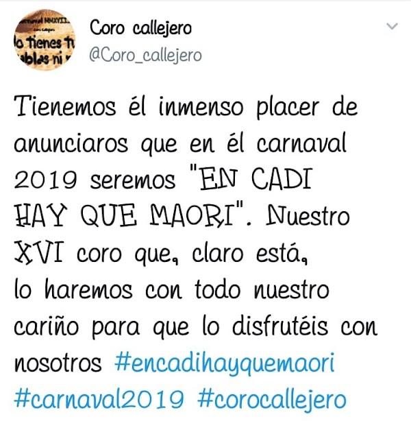 """El coro callejero de Luis Frade, este 2018 """"No tienes tú tablas ni ná"""", serán en el carnaval 2019, """"En Cadi hay que maorí"""""""