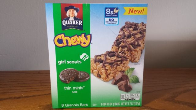 Review Quaker Thin Mint Flavored Chewy Granola Bars