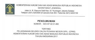 Lowongan Kerja CPNS Terbaru Kementerian Hukum dan Hak Asasi Manusia Republik Indonesia Tahun 2017