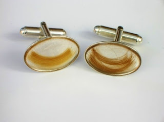 Sterling silver cufflinks for two different locks of hair