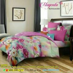 Sprei Custom Katun Lokal Dewasa Rossamery Magenta Bunga Floral Pink