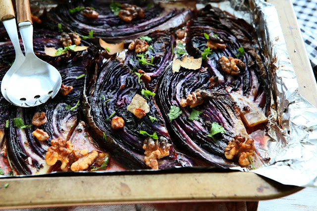 Roasted Red Cabbage Wedges with Walnuts and Bay Leaves