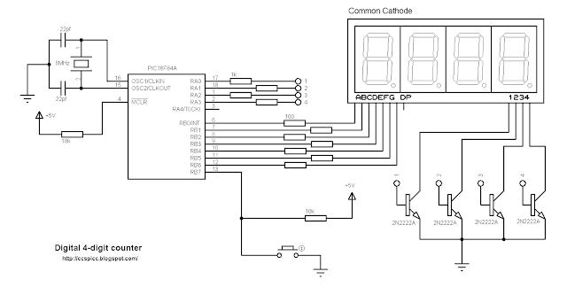 pic16f84a 7 segment common cathode counter ccs pic c