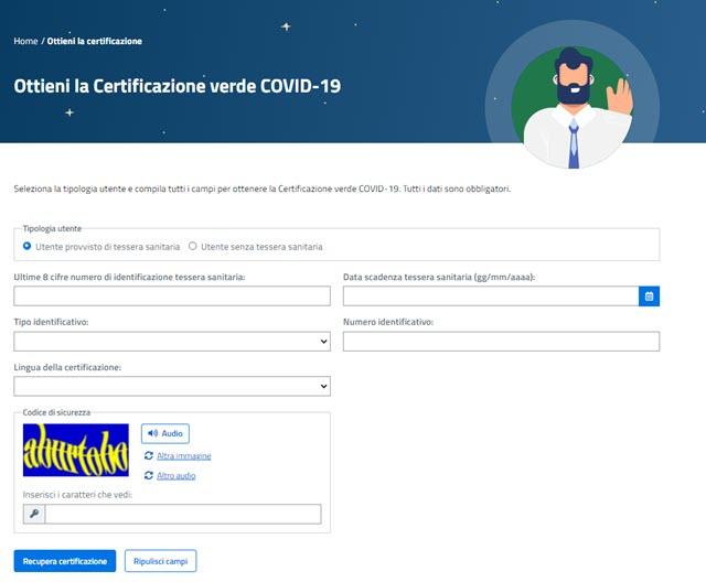certificato verde covid-19 per browser desktop