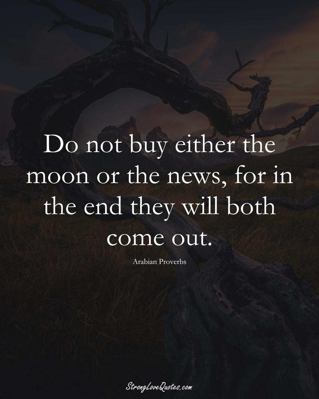 Do not buy either the moon or the news, for in the end they will both come out. (Arabian Sayings);  #aVarietyofCulturesSayings