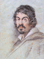 Portrait of Michelangelo Merisi da Caravaggio by baroque painter Ottavio Leoni in 1621