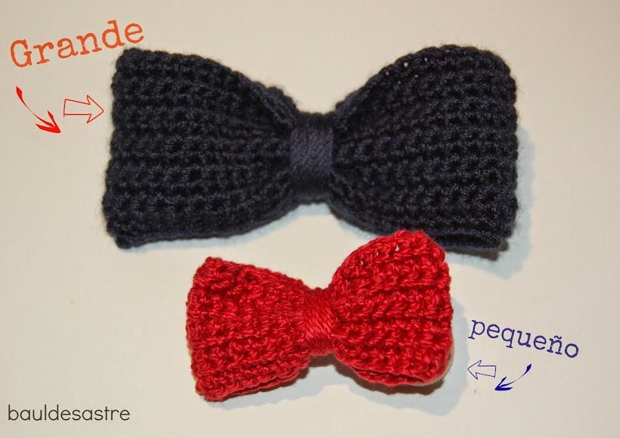 lazos a crochet de distintos tamaños