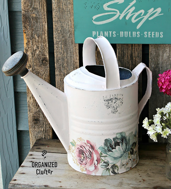 Up-cycled Watering Can & Repurposed Paint Finish Sample Signs #iodtransfer #primamarketing #oldsignstencils #stencil #upcycle #repurpose #signs #wateringcan #shabbychic
