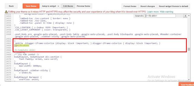 kode HTML komentar di HP