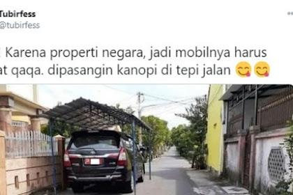 Viral Mobil Pelat Merah Parkir di Jalan Umum Pakai Tenda Pula, Begini Ceritanya