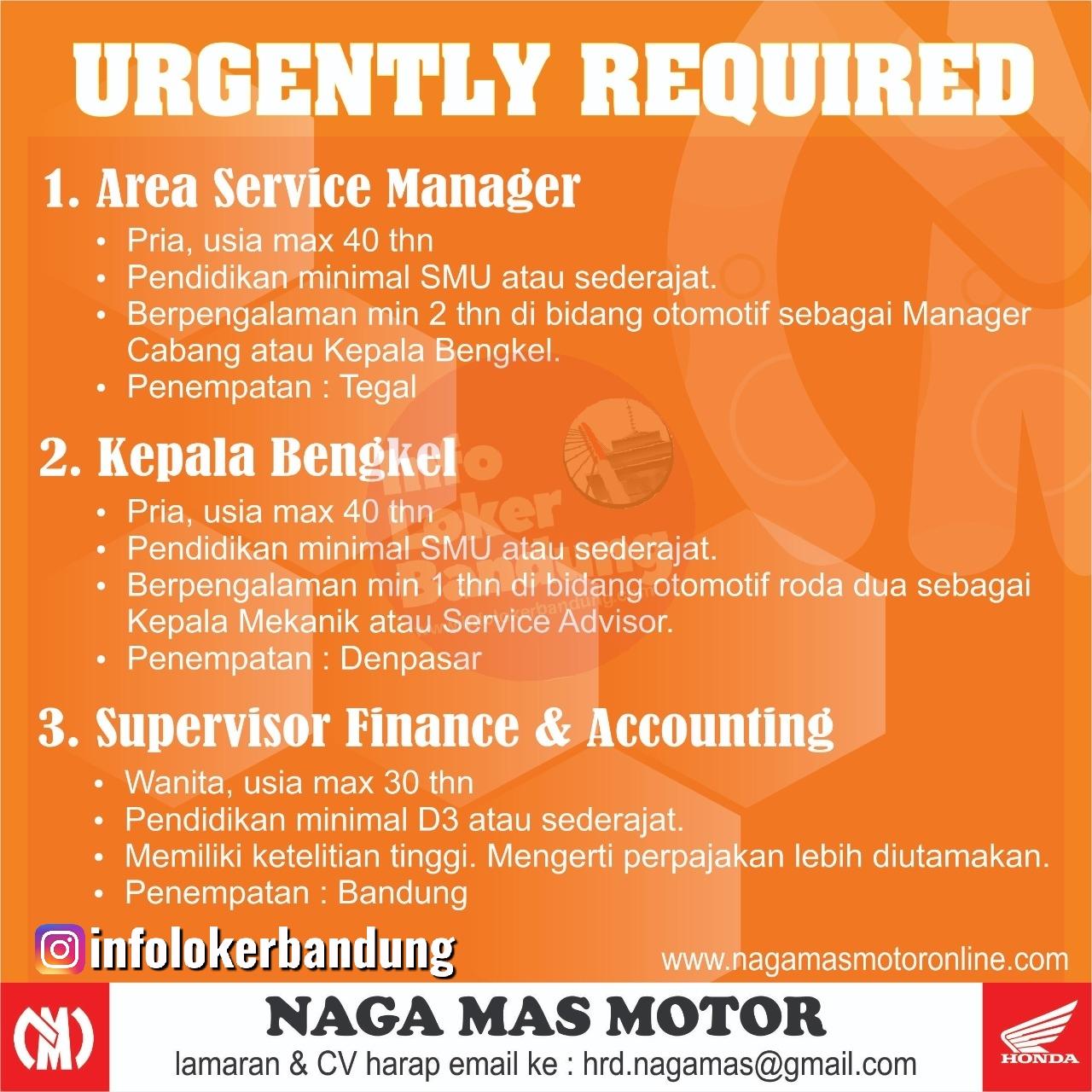Urgently Required Naga Mas Motor Bandung Januari 2020