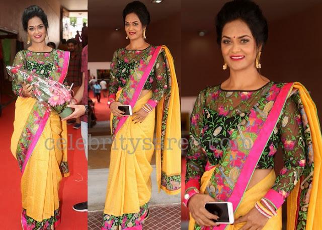 Silk Saree Embroidered Net Blouse