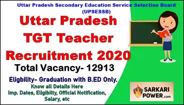 UP TGT 12913 Teacher Recruitment 2020 | Eligibility | Salary | Imp Dates | Exam Pattern | [www.upsessb.org]