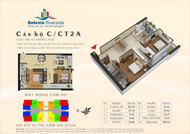 Mặt bằng căn hộ C tòa CT2A chung cư Gelexia Riverside