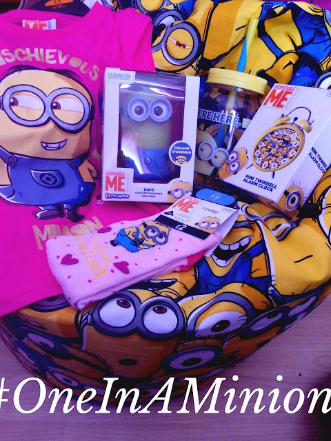 minion beanbag, socks, cup, t-shirt, clock