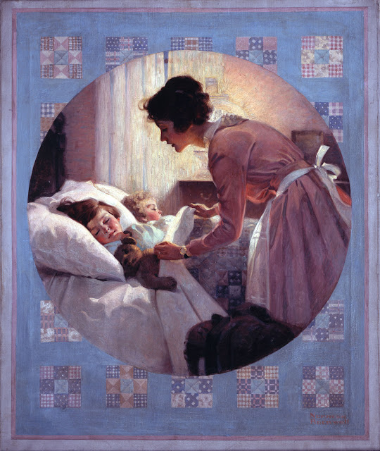 Norman Rockwell's Mother Tucking Children Into Bed (for which his mother Irene was the model), 1921