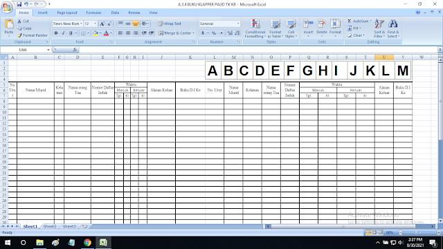 Contoh Buku Klapper Paud TK KB TPA SPS RA Format Excel