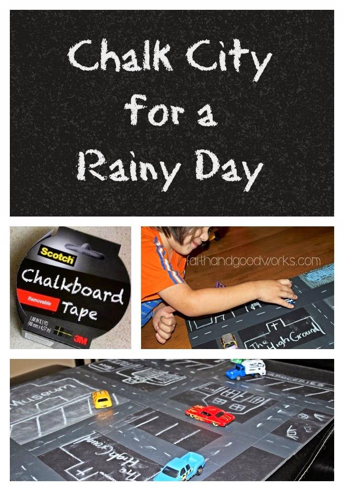 DIY Chalkboard City for a Rainy Day Activity