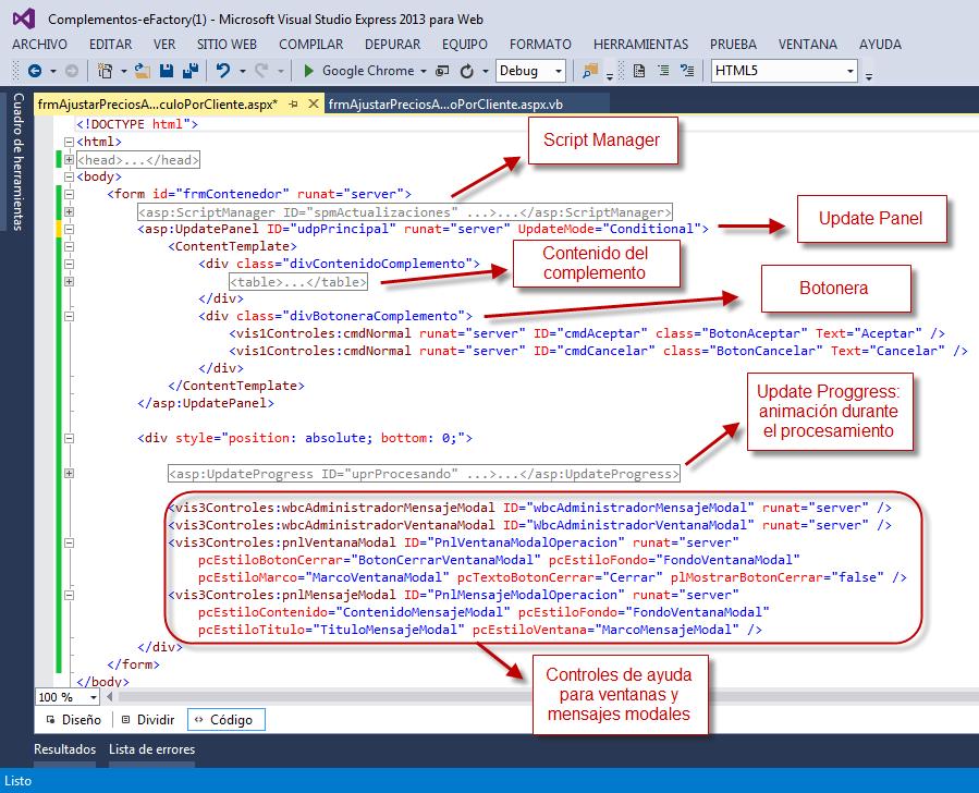 Complemento - Archivo ASPX (GUI) - Programación de Complementos para eFactory ERP/CRM, Contabilidad y Nómina