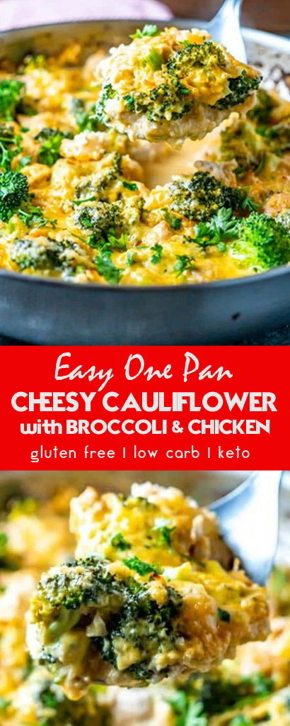Cheesy Cauliflower Rice with Broccoli and Chicken #chicken #dinnerrecipes #lowcarbrecipes #healthydinnerrecipes