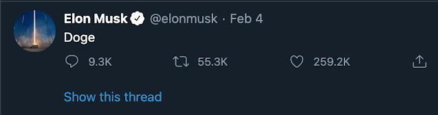Elon Musk tweeted Doge