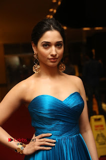 Actress Tamannaah Pictures in Blue Long Dress at Abhinetri Audio Launch  0040