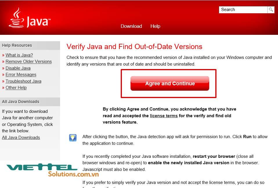 Hình 7 - Chọn Agree and Continue để xác nhận phiên bản Java