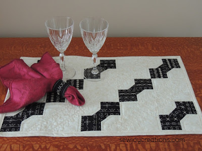 stitched bowtie table runner and napkin ring