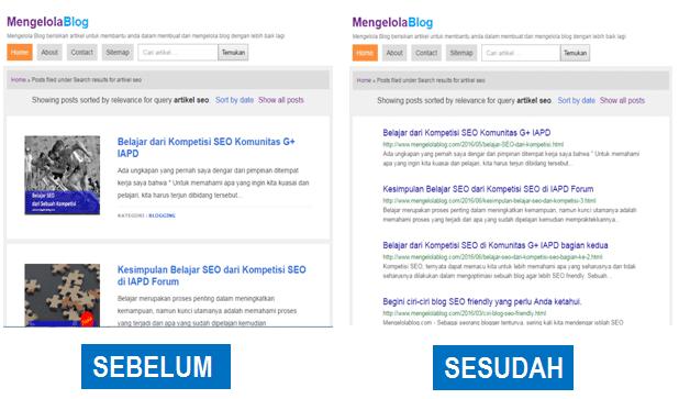 Sebelum dan sesudah modifikasi laman pencarian Blogspot