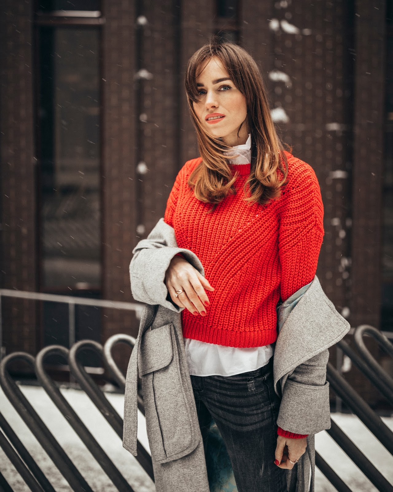 red jumper winter outfit