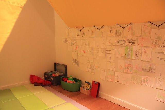An alcove in the Culture House Museum in Reykjavik where kids can explore art.