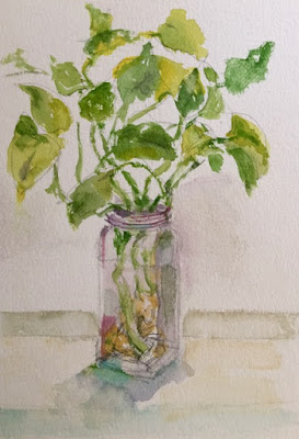 loose still life painting of ivy in a glass jar