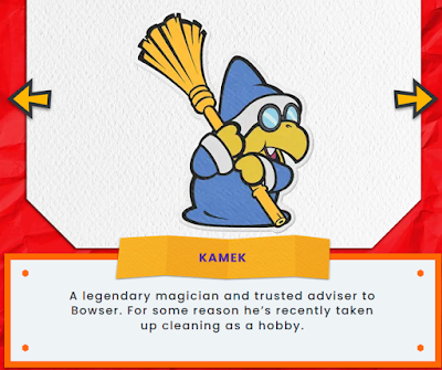 Kamek Paper Mario The Origami King character biography magician cleaning