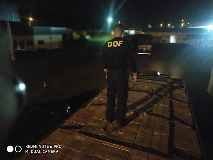 Caminhão carregado com 15 mil pacotes de cigarros contrabandeados do Paraguai foi apreendido pelo DOF na região de Naviraí
